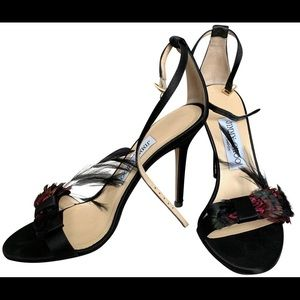 NEW Jimmy Choo Black Satin Sandals Feather Bow 41